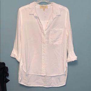 Anthropologie Cloth & Stone Dale Button Down White